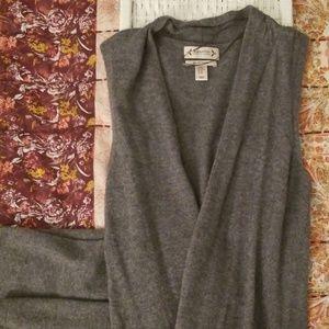 Grey 100% Cashmere Long Sleeveless Cardigan